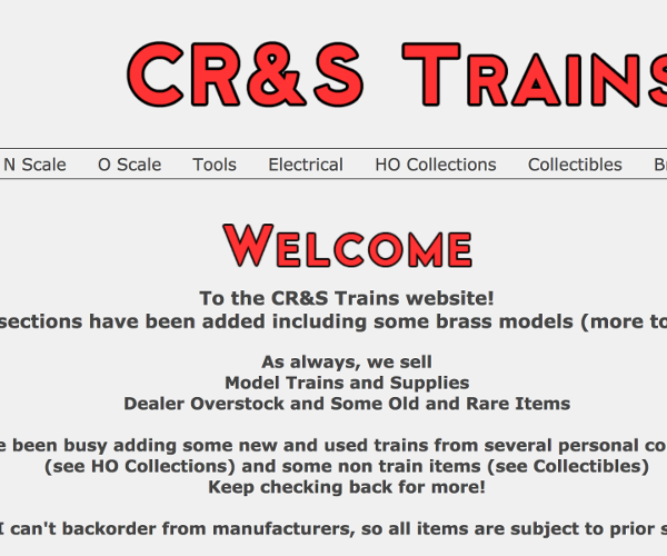 CR&S Trains is an eCommerce site that I built from scratch for my senior project at Champlain College. It is a custom CMS that allows my client to add and update items and site features as well as handle orders.